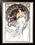 Close-up of Flute Keys Print by Alphonse Mucha