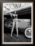 Pin-Up Girl: Ford Coupe Flames Posters by David Perry
