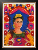 Self-Portrait with Flowers Print by Frida Kahlo
