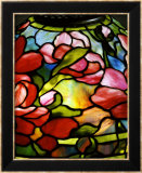 Detail from a &quot;Peony&quot; Leaded Glass and Bronze Table Lamp Print by Tiffany Studios 