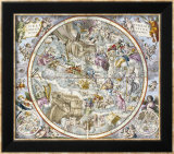 Mapa de las Constelaciones cristianas as Depicted por Julius Schiller Láminas por Cellarius, Andreas