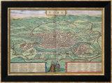 """Mapa de Roma, de """"Civitates Orbis Terrarum"""" por Georg Braun y Frans Hogenberg, cerca de 1572 Láminas por Joris Hoefnagel"""