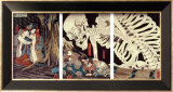 Mitsukini Defying the Skeleton Spectre, circa 1845 Prints by Kuniyoshi
