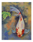 Koi with Japanese Maple Leaf Giclee Print by Michael Creese