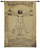 Vitruvian Man Wall Tapestry by  Leonardo da Vinci