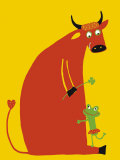Love Between a Beef and a Frog Affiches par Andree Prigent