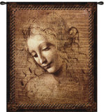 Female Head Wall Tapestry by  Leonardo da Vinci