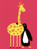 Love Between a Giraffe and a Penguin Poster by Andree Prigent
