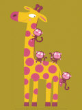 La girafe et les singes Affiche par Nathalie Choux