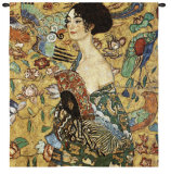 Lady with Fan Wall Tapestry by Gustav Klimt