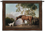Bay Horse and White Dog Wall Tapestry by George Stubbs