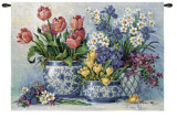 Spring Garden in Blue Wall Tapestry by Barbara Mock