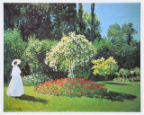 Jeanne Marguerite Lecadre in Her Garden, 1866 Poster by Claude Monet
