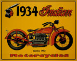 Enseigne des motos Indian s&#233;ries 402, 1934 Plaque en m&#233;tal