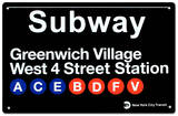 Subway Greenwich Village- West 4 Street Tin Sign