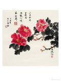 Three Red Peonies Giclee Print by Feng Yan