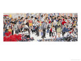 Busy Market in Spring 2 Giclee Print by Wang Kae