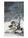 Beautiful Peacocks in the Snow Giclee Print by Hong Kuangyu