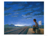 Waiting for Early Train Giclee Print by Wang Kae