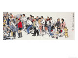 Busy Market in Spring 1 Giclee Print by Wang Kae