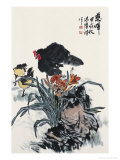 Hen and Chicks Giclee Print by Hong Kuangyu