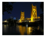 The Tower Bridge of Sacramento at Night, CA Photographic Print by George Oze