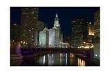 Chicago River at night Fotografie-Druck von Patrick  J. Warneka