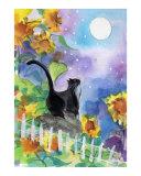 Tuxedo Cat in Moonlight with Sunflowers Giclée-trykk av sylvia pimental