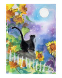 Tuxedo Cat in Moonlight with Sunflowers Gicléedruk van sylvia pimental