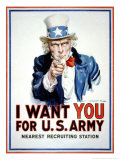 I Want You for the U.S. Army Giclee Print by James Montgomery Flagg