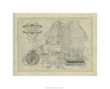Antique Map of Europe Premium Giclee Print