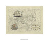 Antique Map of Asia Premium Giclee Print