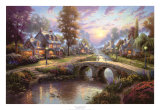 Sunset on Lamplight Lane Edição limitada por Thomas Kinkade
