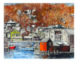Winterly Rockport Giclee Print by Christian Brunner