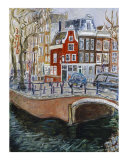 Red House at Amsterdam Canal Giclee Print by Joan de Bot