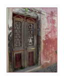Old Red Door in Santorini Greece Photographic Print by Matt D. Rudin