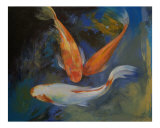 Koi Fish Pond Giclee Print by Michael Creese