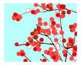Aqua & Red Cherry Blossom Photographic Print by Estela Lugo