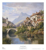 Riverside Village II Print by Charles Kuwasseg