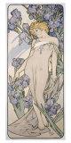 Mucha Nouveau Iris Flower Poster Giclee Print by Alphonse Mucha