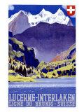 Swiss Alps Lucerne Travel Poster Reproduction procédé giclée