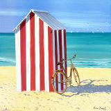 Candy Striped Beach Shack Print by Henri Deuil