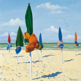 Tied Beach Umbrellas Prints by Henri Deuil
