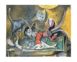 Still Life with Cat and Lobster, 1962 Art by Pablo Picasso