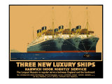 Three New Luxury Ships, LNER Poster, 1935 Giclee Print by Frank Mason