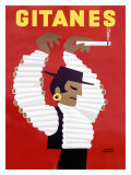 Gitanes Swiss Cigarette Vintage Poster Gicledruk van Herve Morvan