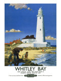 Whitley Bay Lighthouse Giclee Print by F Donald Blake