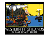 Western Highlands by East Coast Route, LNER Poster Giclee Print by Frank Mason