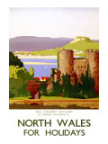 The Conway Estuary, North Wales, LMS Poster, 1923 Giclee Print by Norman Wilkinson