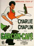 Charlie Chaplin Garcon De Cafe Plaque en métal